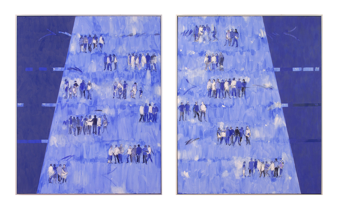 BLUE GENES LEFT AND RIGHT HANDED 2X100X81 acrylic on canvas